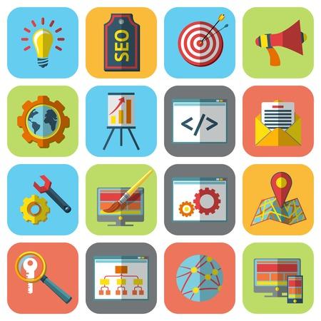 internet user: SEO mobile computer website optimization icons flat set isolated vector illustration Illustration