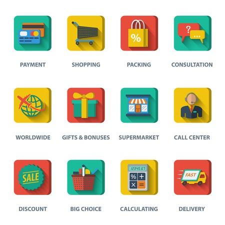 E-commerce internet shopping icons set of payment discount  delivery elements isolated vector illustration Vector