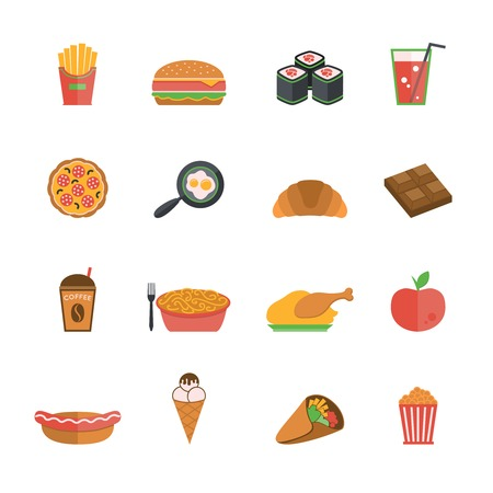 Fast junk food icons flat set of french fries hamburger sushi soda drink isolated vector illustration Vector