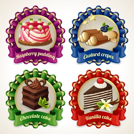 layer cake: Decorative sweets ribbon banners set with raspberry pudding custard crepes isolated vector illustration Illustration