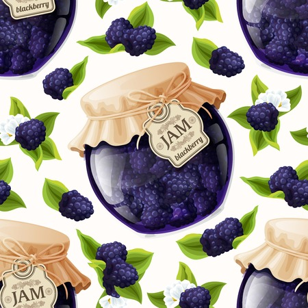 jam jar: Natural organic homemade forest blackberry jam jar seamless pattern vector illustration Illustration