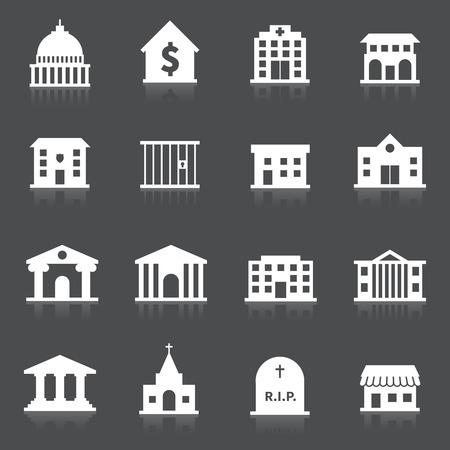 mimari ve binalar: Hastane itfaiye istasyonu mezarlık izole vektör çizim seti hükümet binası simgeler