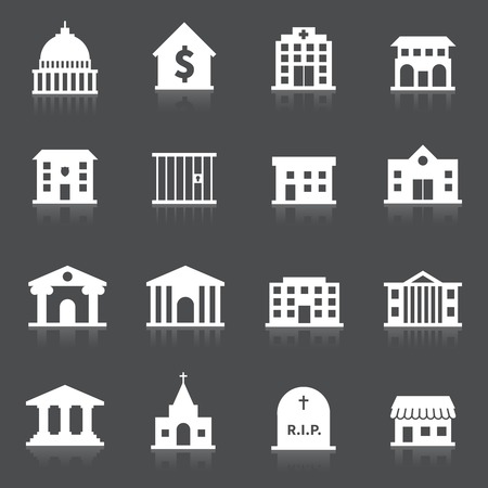 Regering gebouw pictogrammen set van geïsoleerde ziekenhuis brandweerkazerne begraafplaats vectorillustratie Stock Illustratie