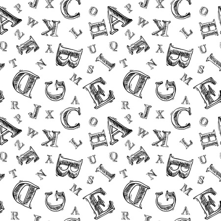 written text: Sketch hand drawn alphabet black and white font letters seamless pattern vector illustration Illustration