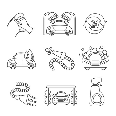 Car wash outline auto cleaner washer shower service isolated icons vector illustration Vector