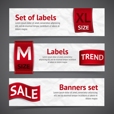Clothing size trend sale red label ribbon banners set isolated vector illustration Vector