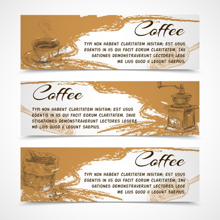 Horizontal retro black strong coffee aroma banners set with beans grinder and coffeepot doodle handdrawn vector illustration Vector