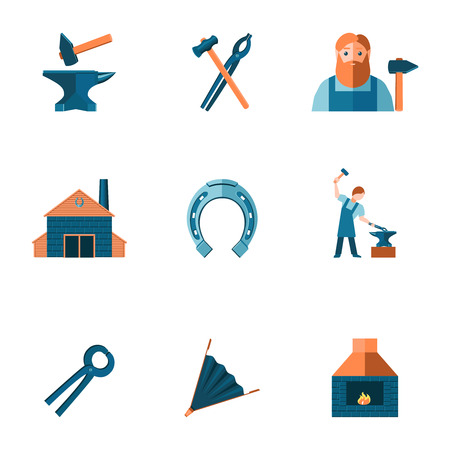 tongs: Decorative blacksmith shop anvil steel tongs tools and horseshoe pictograms icons collection flat isolated vector illustration