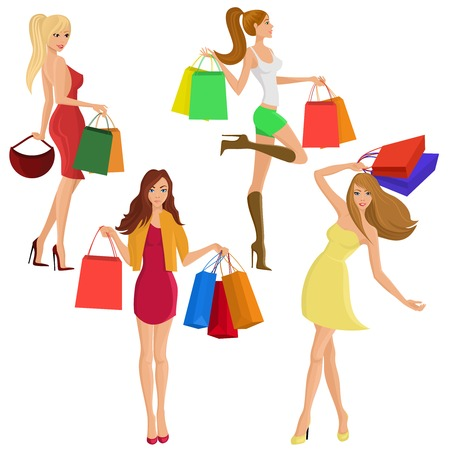 Shopping girl young sexy female figures with sale fashion bags isolated vector illustration Vector