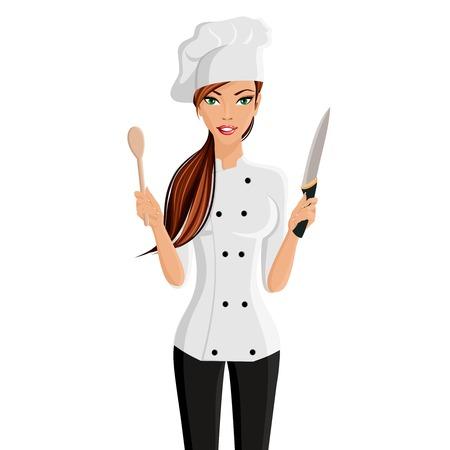 chapeau blanc: Jeune femme s�duisante dans le restaurant le chapeau de chef avec un couteau et une spatule isol� sur fond blanc illustration vectorielle