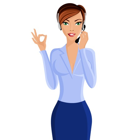 sexy business woman: Young sexy attractive woman call center customer support interactive service representative with headphone set isolated vector illustration