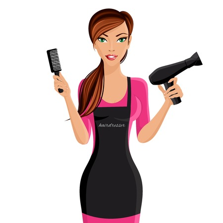 blow dryer: Attractive happy girl hairdresser with comb and hair dryer portrait isolated on white background vector illustration.