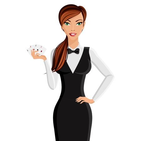ruleta: Atractivo concesionario del casino mujer joven con tarjetas de retrato aislado en fondo blanco ilustración vectorial Vectores