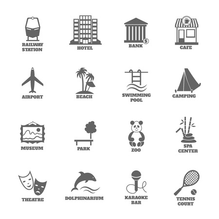 Building tourism icons set of railway station hotel bank cafe isolated vector illustration Vector