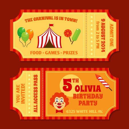 circus caravan: Two vintage circus tickets with clown pavilion tent balloons and candy isolated vector illustration