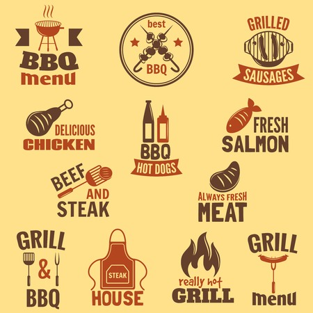 Bbq grill label best premium quality fish and meat barbeque set isolated vector illustration Vector