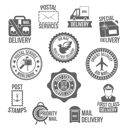 mail truck: Post service special delivery worldwide mail label set isolated vector illustration