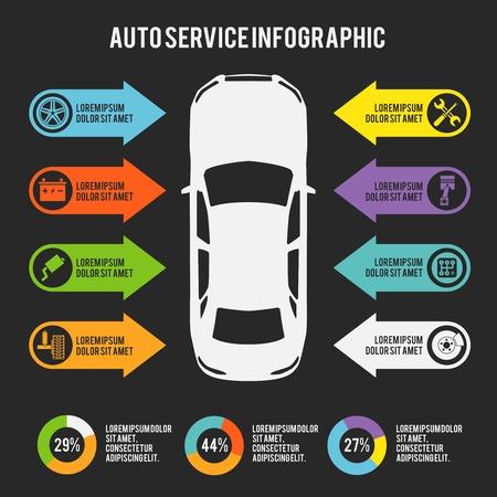 repuestos de carros: Servicio de automóviles Mecánico de automóviles plantilla infografía con las cartas y elementos de mantenimiento ilustración vectorial