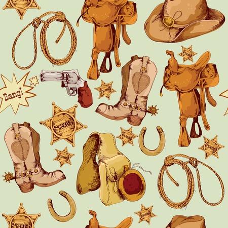 country: Het wilde westen cowboy gekleurde hand getrokken naadloze patroon met lasso paard zadel vectorillustratie