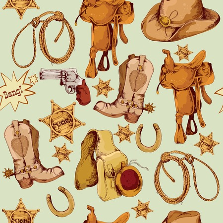 Wild west cowboy colored hand drawn seamless pattern with lasso horse saddle vector illustration Çizim
