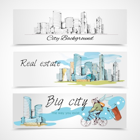 real people: Modern urban big city abstract design horizontal banners set vector illustration Illustration