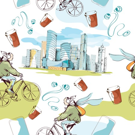 Modern urban city sketch seamless pattern with skyscrapers and bicyclists vector illustration Vector