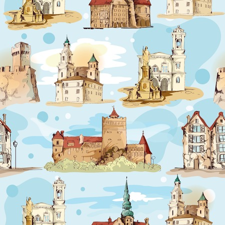 Old city buildings hand drawn decorative elements seamless pattern vector illustration