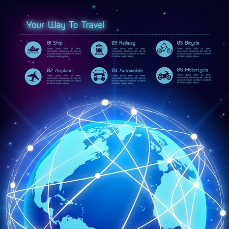 Network globe blue sphere earth map travel background with transport icons vector illustration Vector