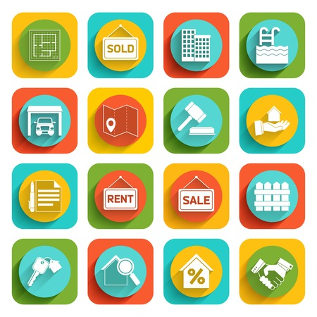 pool symbol: Real estate flat icons set of house valuation commission and searching isolated vector illustration Illustration