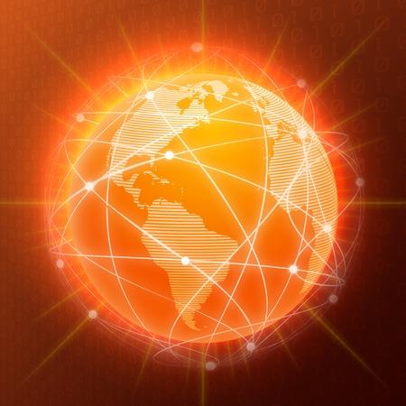 Network globe orange sphere earth map social media concept vector illustration