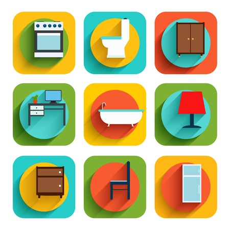 House interiors flat icon set of oven toilet bowl wardrobe isolated vector illustration Vector