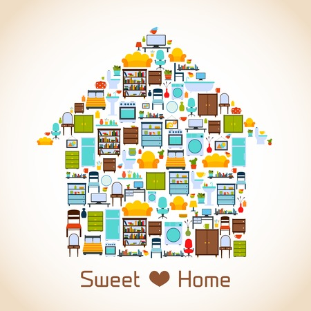 home furniture: Interior furniture sweet home concept with indoors icons vector illustration