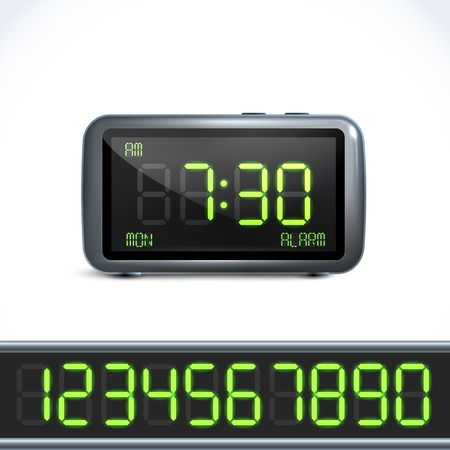 Realistic digital alarm clock with lcd display and numbers vector illustration Vector