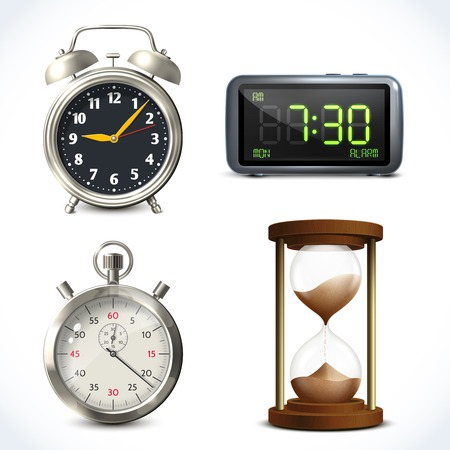 sand watch: Realistic clock set of  retro stopwatch digital sand watch isolated vector illustration