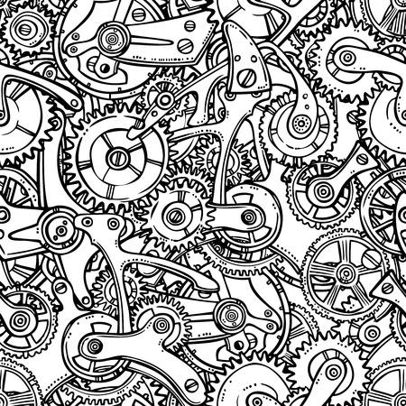 Sketch grunge cogwheel gears mechanisms seamless pattern vector illustration Vector