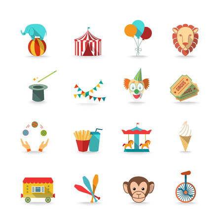 juggler: Circus tent with monkey and lion and clown magical wand triks icons set flat isolated vector illustration