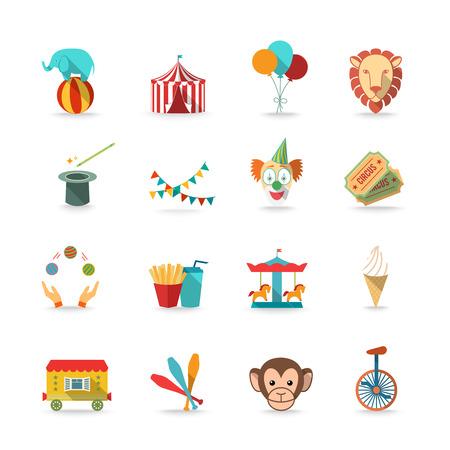 CARNAVAL: Tienda de circo con el mono y el le�n y el payaso m�gicos varita Triks iconos conjunto aislado plana ilustraci�n vectorial