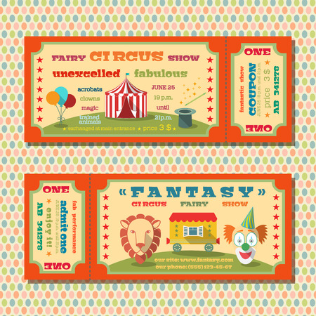 fee: Two vintage circus  fairy show tent tickets templates with clown and exotic animals vector illustration