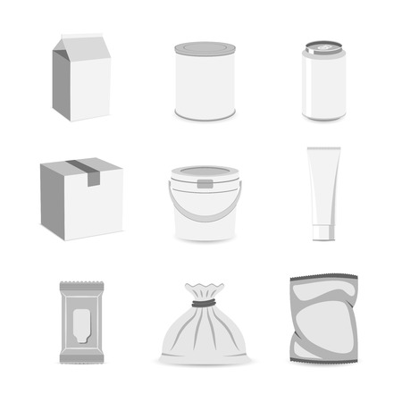 paper bag: Pack container can box bag jar tube mockup icon set flat isolated vector illustration