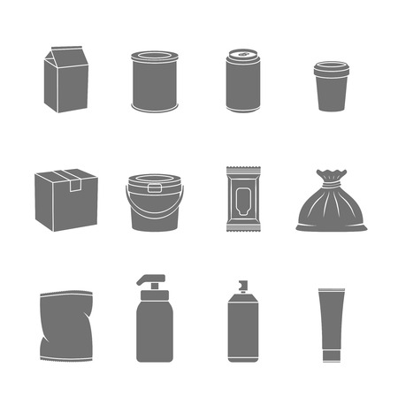 paper container: Pack container flask food and liquid mockup icon set flat isolated vector illustration