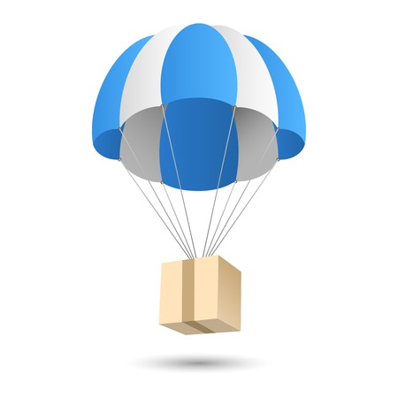Parachute gift box package aerial post delivery emblem icon vector illustration