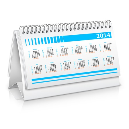 Spiral desk business office calendar planner mockup vector illustration Vector