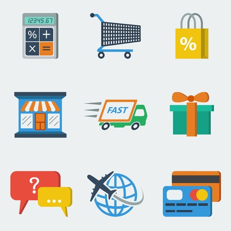 E-commerce internet shopping icons set of calculating packing delivery payment elements vector illustration Vector