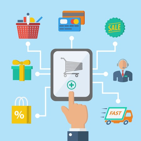 gift basket: E-commerce internet shopping hand with mobile device and retail icons vector illustration