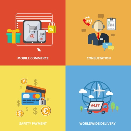 mobile commerce: E-commerce internet shopping elements of mobile commerce consultation safety payment worldwide delivery isolated vector illustration. Illustration