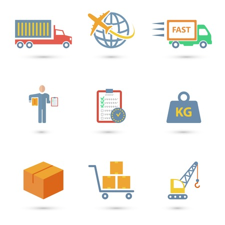 Iconos del servicio de logística de mercancías conjunto de aislados de camiones en todo el mundo el envío de entrega rápida ilustración vectorial Foto de archivo - 28799292