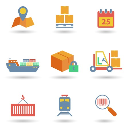 Logistic freight service flat icons set of cargo ship train isolated vector illustration Vector