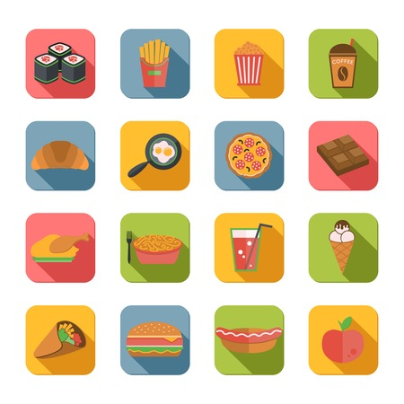 junk: Fast junk food icons flat set of popcorn coffee croissant eggs isolated vector illustration