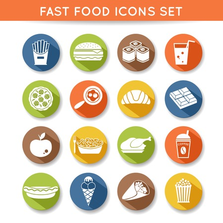 food and beverages: Fast food icons flat set of pizza chocolate apple spaghetti isolated vector illustration