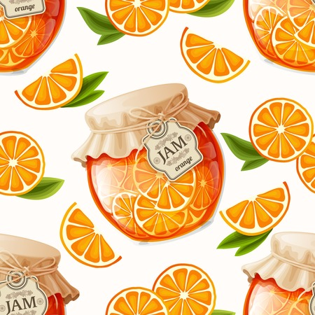 Natural organic orange slices jam jar and leaves seamless pattern vector illustration Vector